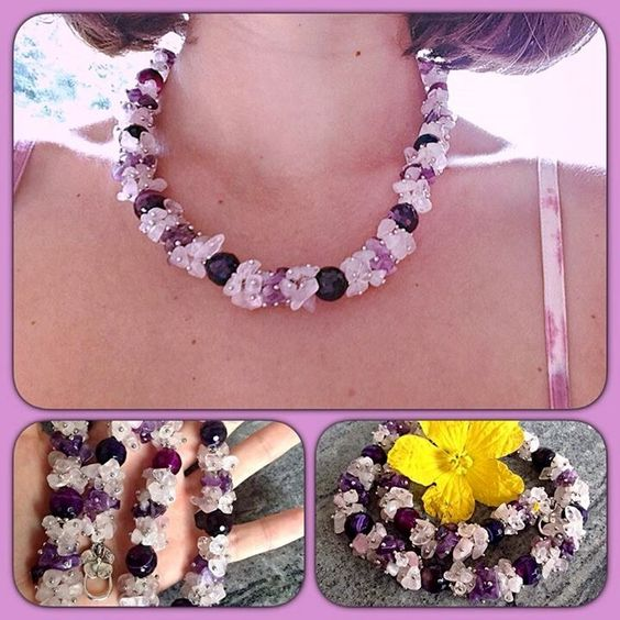 Stunning necklace made of amethyst and pink Quartz!! Available at http://www.livemaster.ru/inna-dzen