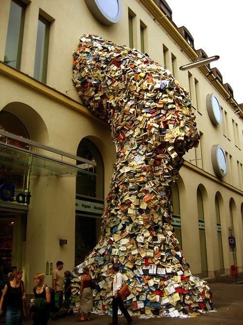 From iAuthor's official Facebook page: Book Installation, Book Art, Book Sculpture, Cascading Book, Alicia Martin, Street Art, Art Installation