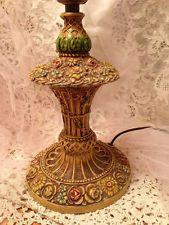 Antique Metal BOUDOIR LAMP Hand Painted BARBOLA ROSES c 1920's Art Deco