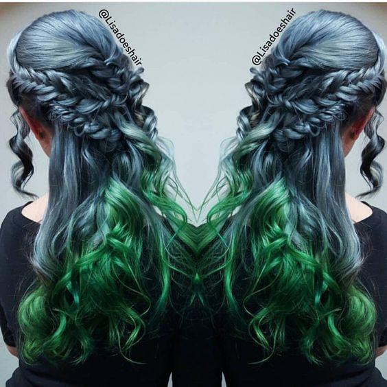 "Hot on Beauty on Instagram: ""Boho beauty Steel Blue and Earthy Green braided style by @lisadoeshair #hotonbeauty"""