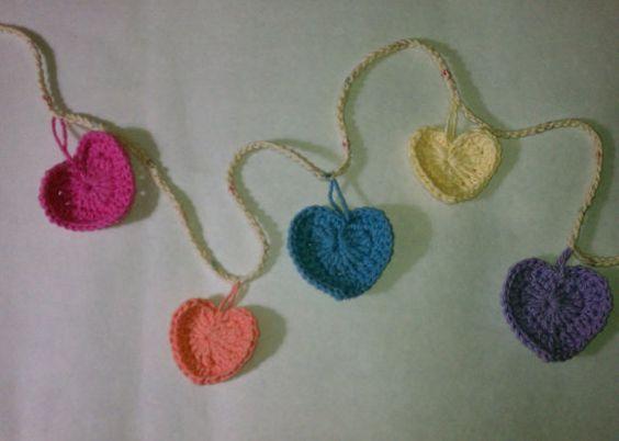 crochet valentine's day heart garland by FudgiePickles on Etsy, $10.00 #amigurumi #etsy #fudgiepickles