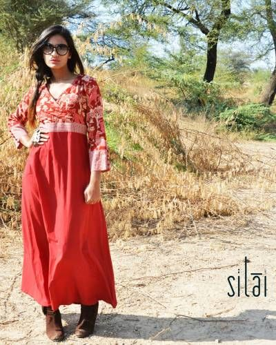 Red Kalamkari Angrakha Style  Maxi Dress I Shop at :http://www.thesecretlabel.com/silai