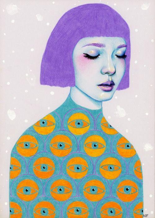 Menina de cabelo roxo com roupa de olhos.