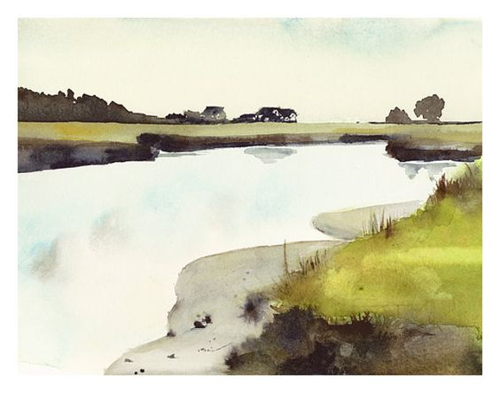 Maine Salt Marsh  Watercolor Print by amberalexander on Etsy, $35.00