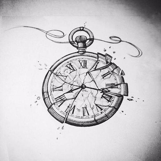 Reloj Roto Dibujo Tatuaje Reloj De Bolsillo Dibujo Reloj De Bolsillo Tatuajes De Relojes