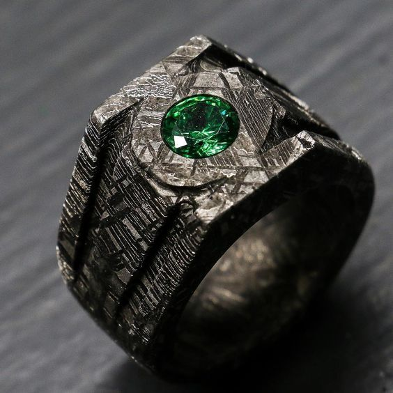 Green Lantern Inspired Ring Made Completely Out Of Meteorite Green Lantern Power Ring Lantern Rings Green Lantern Ring