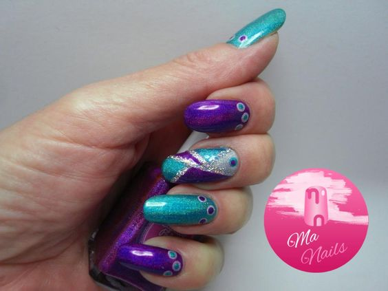 Holographic Turquoise And Purple Nails Http Ma Co Uk All Pinterest Nail