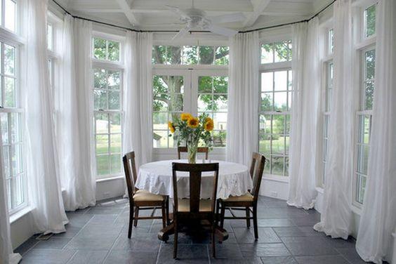 sunroom dining room elegant white window treatment 06