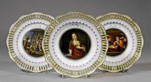 A set of three Meissen porcelain plates. German, c.1880.