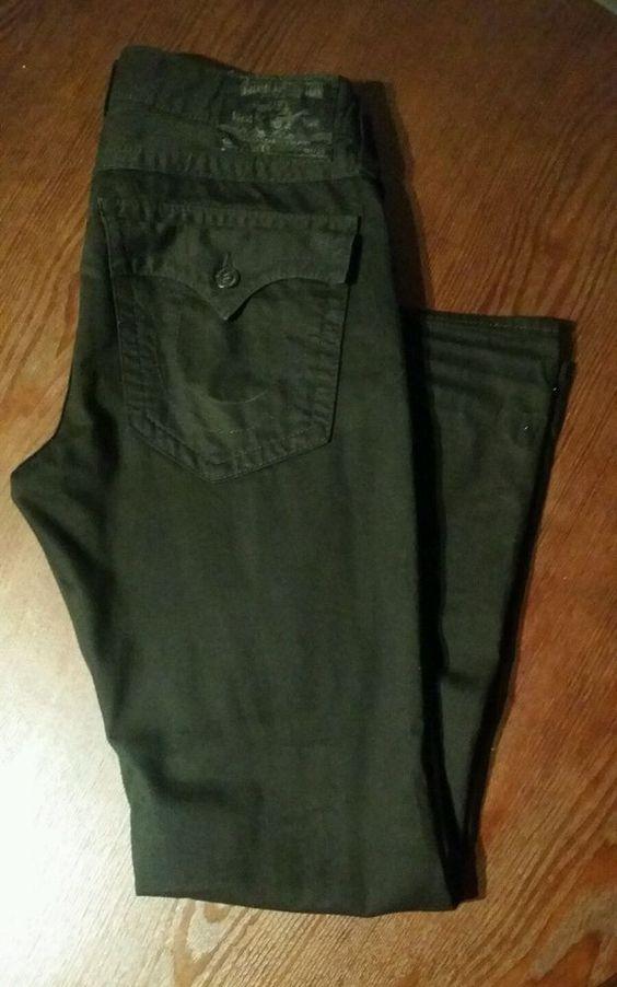 TRUE RELIGION Men's Ricky Relaxed Straight Fit Jeans Black Denim Size 34 #TrueReligion #ClassicStraightLeg