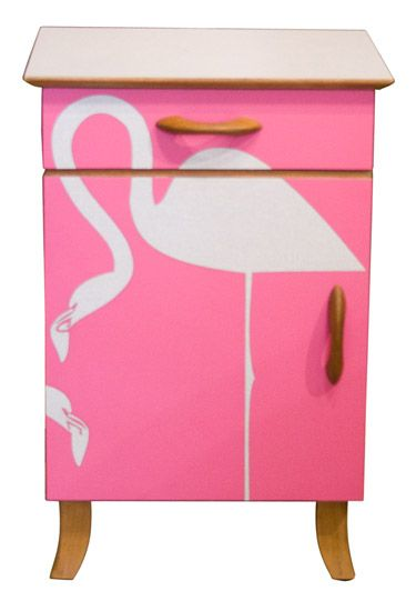 Upcycled Painted Flamingo Bedside Table Retro Vintage