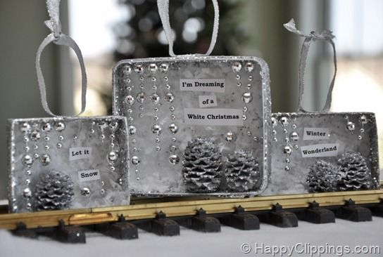 Christmas Diorama ornaments  note the suspended stars: Winter Scene, Yard, Snow Scene