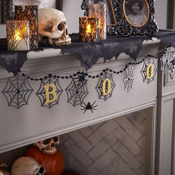 Customize this laser-cut Halloween Banner with paint and glitter to create spooky decor for your home.