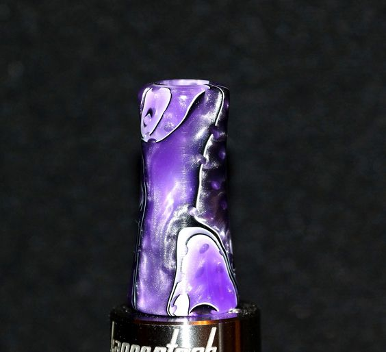 Purple white black custom handmade WIDE bore Drip tip. Gallery Tips on FB https://www.facebook.com/gallerytips Heck give us a like! #vape #driptip #ecigs #driptips #art