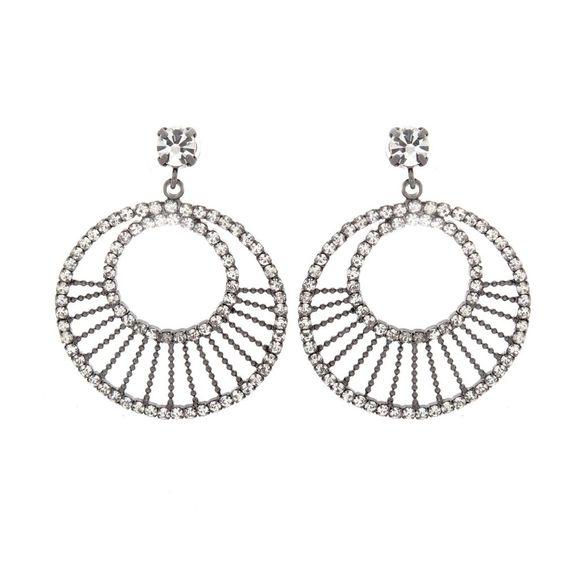 qvc Joan Rivers Gunmetal Double Circle Clear Crystal Earrings #JoanRivers #DropDangle