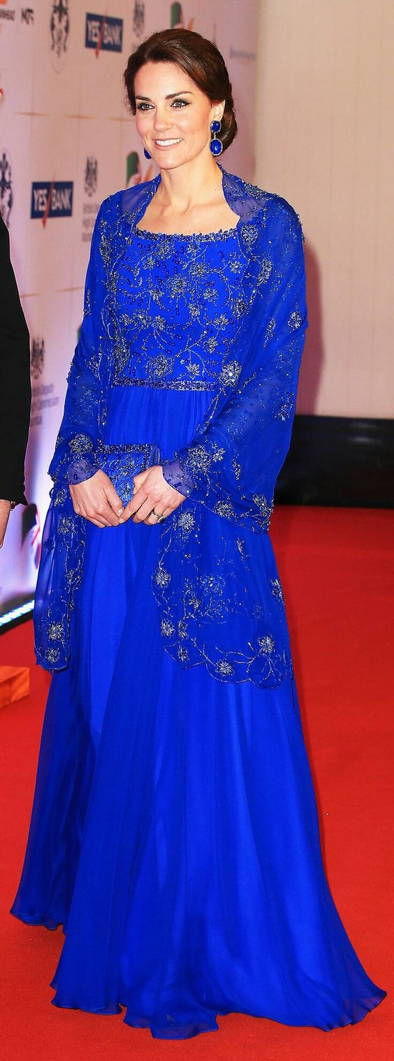 The Duchess of Cambridge wearing a Bollywood inspired gown by Jenny Packham.