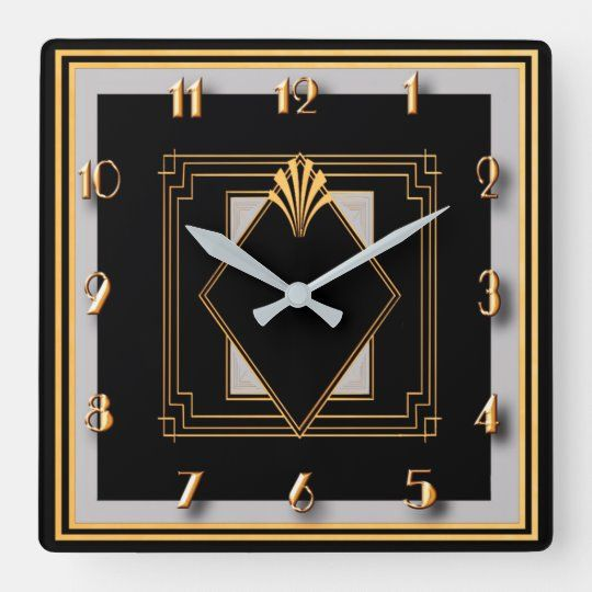 Very Art Deco Square Wall Clock Zazzle Com Art Deco Clock Art Deco Wall Art Art Deco Interior Design