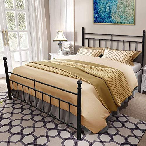 Metal Bed Frame, Heavy Duty Queen Bed Frame With Headboard