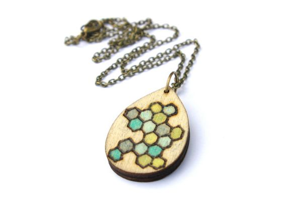 Geometric Necklace  Honeycomb Necklace  Honey by TheSkinnyThicket, $16.99