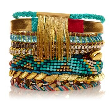 Bracelet brésilien Byzance doré et bleu - Hipanema - Nouvelle Collection et ventes privées - Ref: 1207473 | Brandalley