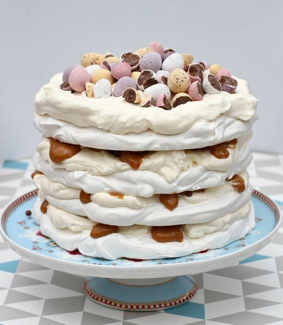Easter mini egg caramel pavlova