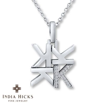 India Hicks K Necklace 1/20 ct tw Diamonds Sterling Silver
