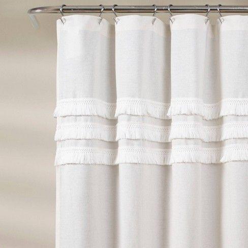 Ciel Tassel Shower Curtain White Lush Decor White Shower