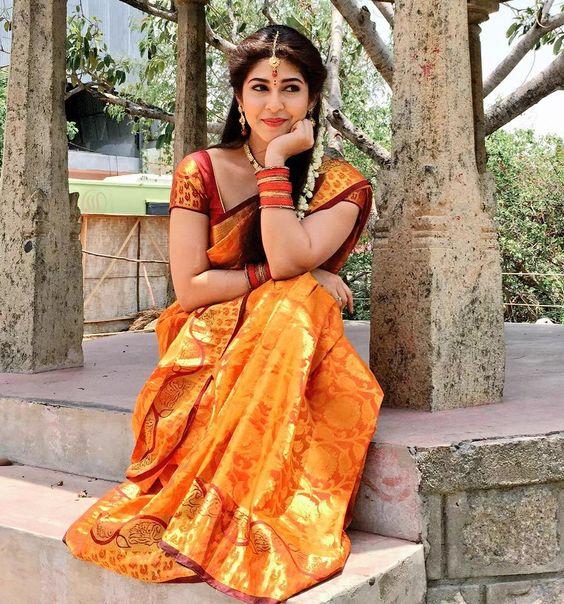 Yellow silk sari