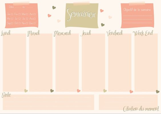 semainier planning hebdomadaire imprimer organisation pinterest. Black Bedroom Furniture Sets. Home Design Ideas