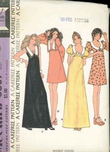 Vintage 1970s McCalls 3507 Sewing Pattern Misses Maxi or Short Dress Bust 34 by SewMrsP