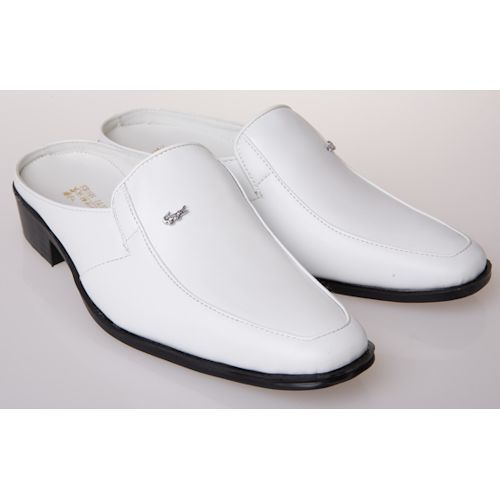 Discount White Leather Backless Dress Wedding Prom Loafers Shoes ...