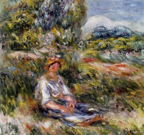 Young Girl Seated in a Meadow - Pierre-Auguste Renoir