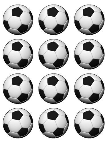 Details About 15 SOCCER BALL EDIBLE PRECUT ICING CUPCAKE