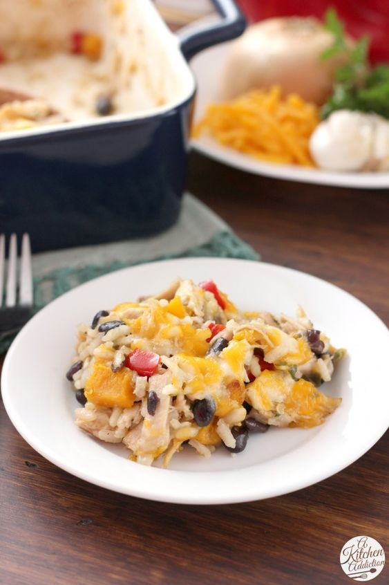 Cheesy Jalapeno Rice Bake with Roasted Squash and Chicken