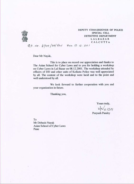 letter of thanks from the kolkata police for a workshop on