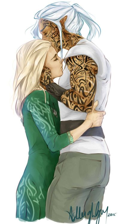 Aelin and Rowan, not how I imagine his tattoo's though: