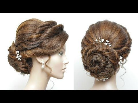 New Bun Hairstyle For Girls Fishtail Braided Updo Hair Tutorial Youtube Bridal Hair Buns Bun Hairstyles For Long Hair Braided Prom Hair