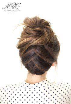Tuxedo Braid Bun Hairstyle - cute everyday hairstyles for school work holiday wedding