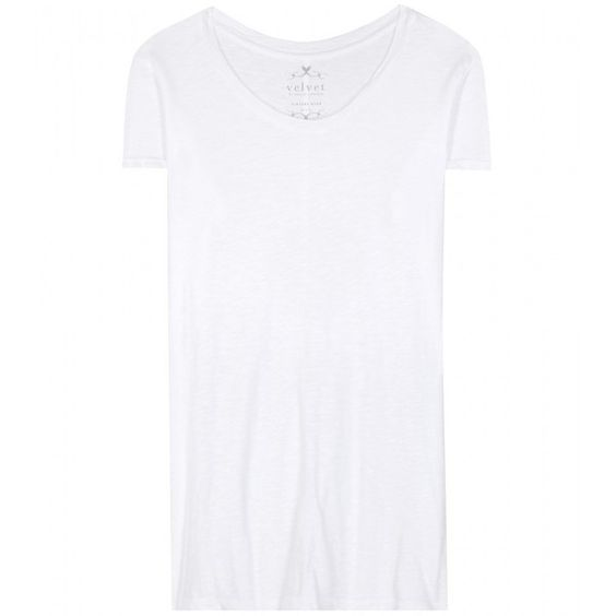 Velvet Odelia Cotton T-Shirt ($115) ❤ liked on Polyvore featuring tops, t-shirts, white, white top, velvet tops, white cotton tee, white t shirt and velvet tees