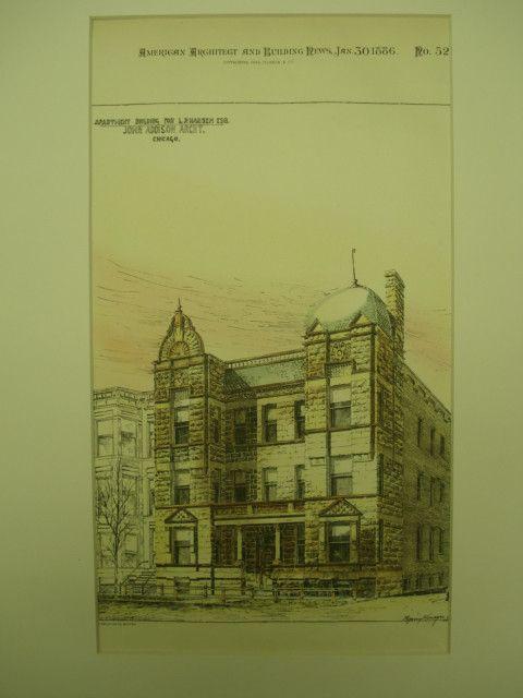 Apartment Building for L. P. Hansen, Esq. , Chicago, IL, 1886, John Addison