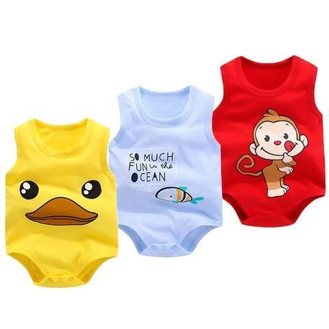 Cotton Newborn Baby Boys Cartoon Romper Jumpsuit Bodysuit Clothes Outfit Sunsuit