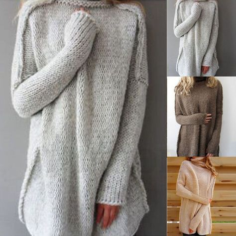 Womens Knit Sweater Loose Jumper Tops Autumn Winter Long Sleeve Knitted Pullover