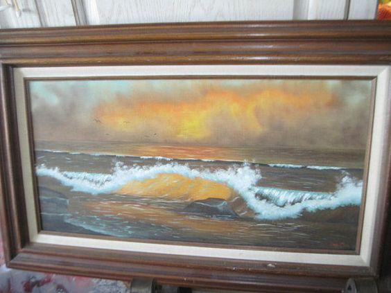 Vintage Ocean Sea Side Painting Cindy Clark by Daysgonebytreasures