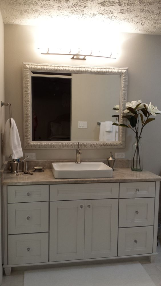 Kraft Maid vanity in color Dove White Taj Mahal granite Chalk painted  mirror  Kraft Maid. Kraftmaid Framed Bath Mirrors