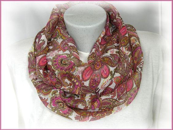 Loop aus Chiffon, Paisley, rosè-pink von Alpen-Juwel auf http://de.dawanda.com/product/80483267-Loop-aus-Chiffon-Paisley-rose-pink