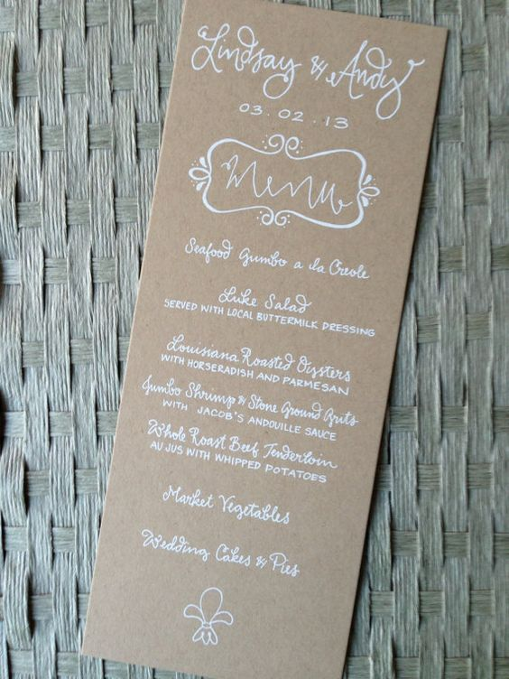 Menu Wedding Calligraphy White Ink Kraft Paper By