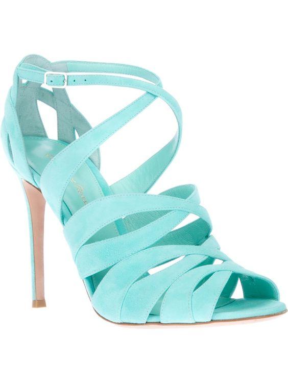Aqua Mint Strappy Heels
