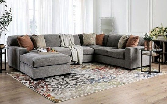 Sm1287 3 Pc Ferndale Gray Chenille Fabric Sectional Sofa Set With