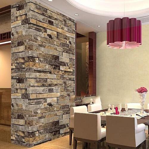 3d embossed stacked stone vinyl wallpaper for easy kitchen
