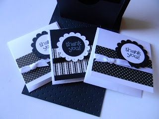 handmade notecard set ... black and white ... clean and simple ... cute contrainer ... Stampin' Up!